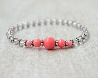 Valentines Day Gift for Her Dainty Beaded Bracelet Pink Coral Bracelet Gifts for Her Crystal Bracelet Girlfriend Bracelet Jewelry Gifts