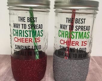 Christmas cheer tumbler, mason jar tumbler, mason jar cup