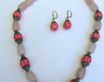 Pink Quartz  Necklace and Earrings.