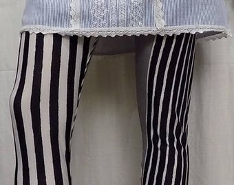 Sweater, polyester and spandex striped leggings