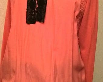 Sweater sleeves long coral color
