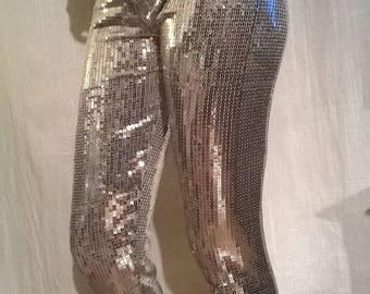 Silver sequins disco leggings