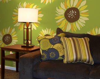 Painted Sunflowers - Removable Peel and Stick Wallpaper