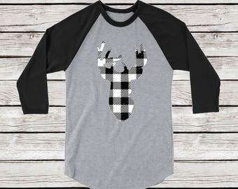 Deer Head Buffalo Plaid Raglan Baseball Tee, Holiday Christmas Shirt