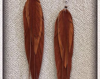 Leather feather earrings, brown leather, feather earrings, handmade earrings