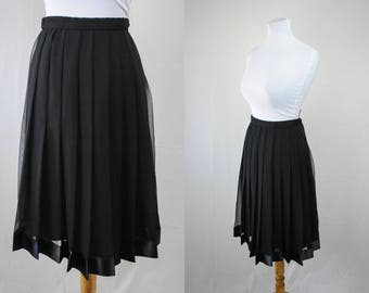 1990s Saks Fifth Avenue Skirt // Vintage Chiffon Skirt // Vintage Pleated Skirt // Vintage Black Midi Skirt // Witchy Clothing // Witchy