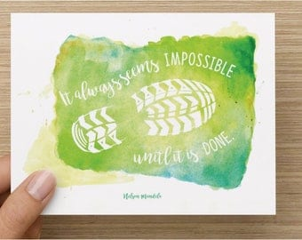 It always seems impossible, until it is done. Hello And High Five greeting card for athlete, inspiration, marathon, half marathon, 5K, blank