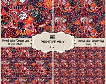 Colorful Floral Printed Pattern Vinyl/Siser HTV/ Oracal/ Indoor Vinyl/ Outdoor Vinyl/ Heat Transfer Vinyl-317