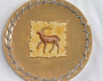 Deer Plate, Collectable Plate, Vintage Plate, Wall Hanging Plate, Serving Plate
