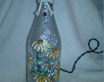 Lighted Wine Bottle - Hand Painted