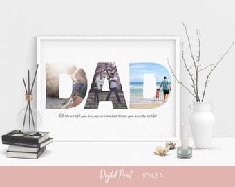 Custom DAD Photo Collage, Birthday Gift for Him, Father's Day Gift, Fathers Day Photo Collage, Fathers Day Gift, Gift For Dad, Digital File