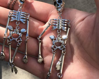 Dangly skeleton skull ear weights earrings for stretched ears gauges plugs