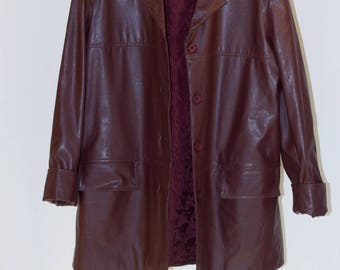 Burgundy faux leather coat
