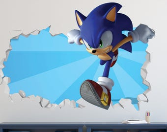 Sonic Hedgehog Wall Decal   Sonic Games Smashed Sticker   Kids Games 3D  Smashed Art   Part 52
