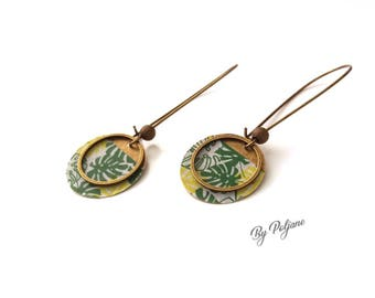 Green bronze Sequin earrings
