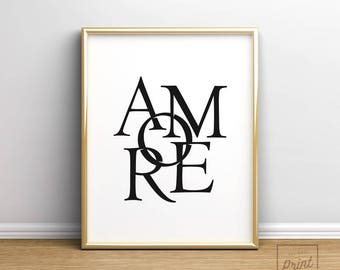 Love Print, Love Wall Art Print, Valentines Gift, Amore, Bedroom Wall Art, Anniversary Gift, Valentine's Gift, Love Poster