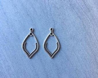 Earrings drops 21 holes silver aged