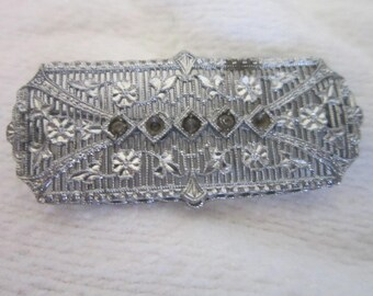 Antique Victorian Filigree Fancy Brooch with Stones