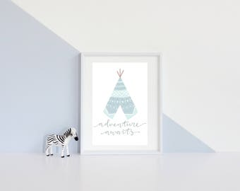 Adventure awaits Blue and mint teepee- instant download