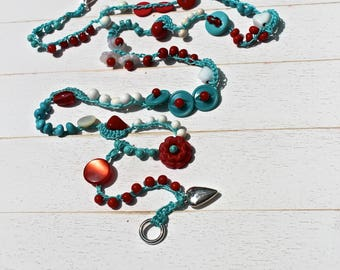Kitschy Red, White, and Aqua Crocheted Bead and Vintage Button Wrap Bracelet/Necklace