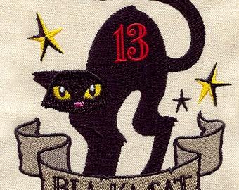 Black Cat Fever, Embroidered Halloween Tea Towel, Halloween Dish Towel, Housewarming Gift, Cat Tea Towel, Halloween Kitchen Decoration