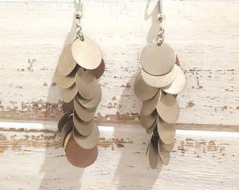 Silver disc dangly earrings