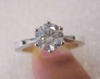 18ct white gold 1.00ct diamond solitaire ring with valuation from Safeguard Assay Office