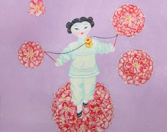 Spinning acrobat doll art print