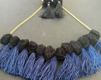 FREE SHIPPING!!!-Bohemian Necklace, Tassels Necklace, Boho, Blue Black Tassels Necklace & Earrings, Choker for Women JW-16