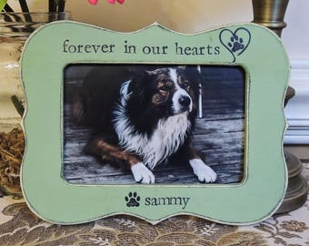 Forever in our hearts Personalized Pet Loss gift Dog Cat picture frame Gift Pet Sign Pet Sympathy Gift cat Dog Memorial Frame Pet Lover Gift