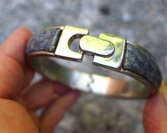VRAI VINTAGE 70 Real Python leather Bracelet Metal Design 70 Grey see my other one