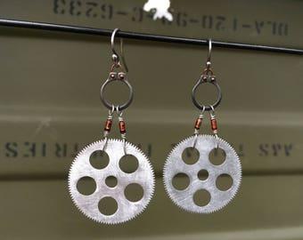 Aluminum cog earrings, Zener diode jewelry, electronic component earrings, wearable snap rings, cyberpunk art, post apocalyptic jewelry