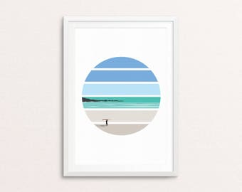 Tiree Longboarder // Ocean, Sea, Surf, Scotland, Hebrides, Beach, Longboard, Sunset, Landscape, Poster, Art, Wall Art, Home Decor.