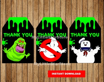 Ghostbusters Thank you tags, Printable Ghostbusters tags, Ghostbusters party tags Instant download