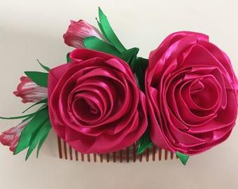 Beauty Rose Decorative Comb (Handmade)