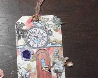 Alice in Wonderland 3D Gift Tags/Cards/At Alice's Door Big Gift Cards/ White Rabbit Cards/Mad Hatter Tags/Set of 3(Custom Ordering available