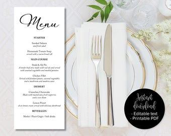 Wedding Day Menu Template, Printable Wedding Menu Cards, Editable Wedding Menu Card Template, Menu Wedding Download, Menu Template, MENU-11