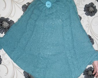 Hand knitted mohair sweater poncho NEW Hand Knit Mohair
