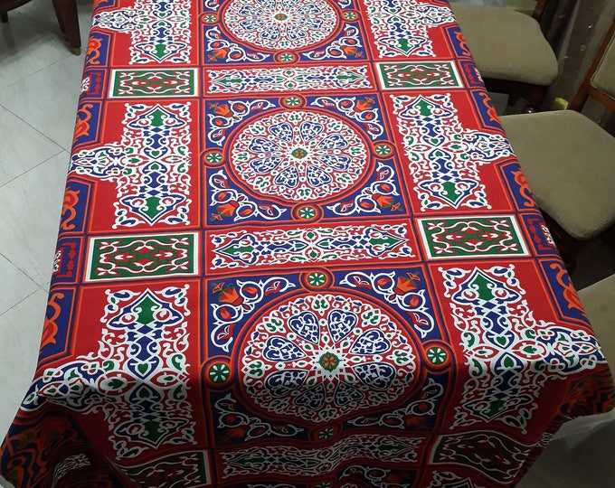 Oriental fabric. Rustic solid red cotton. Geometric patterns. Making outdoor cushions covers. Red lace