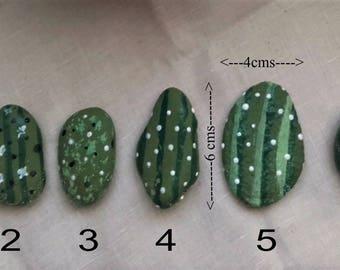 Cactus - hand painted stones