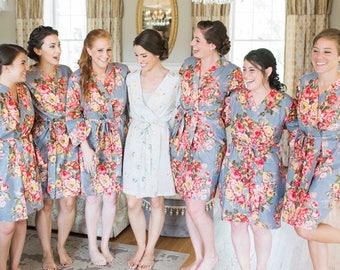 Set of 7 Bridesmaids Robes / Floral Bridal Robe / Robe / Bridal Robe / Bride Robe / Bridal Party Robes / Bridesmaid Gifts / Satin Robe
