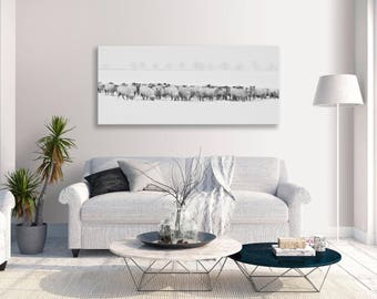 Sheep Canvas Winter Field Black White Panorama Wall Art Picture Home Decor