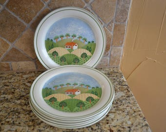 Vintage Sangostone 3645 Country Cottage Dinner Plates Set of 6 1960s