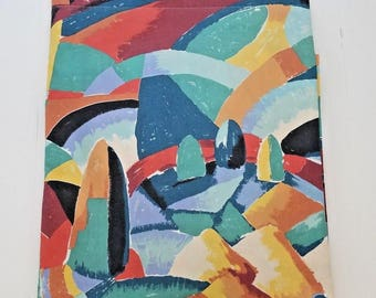 Vintage Martex Atelier Full Flat Sheet Colorful Mural Percale