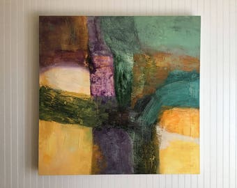 Original Extra Large Square Abstract Painting with Extra Deep Profile by Linda Haywood