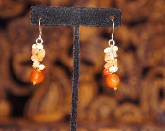 Amber (like) dangle earrings