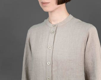 Handmade linen shirt dress with deep pockets