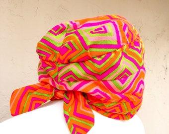 Vintage 60s 70s Turban/ Psychedelic 60s 70s Turban/ Vintage Turban/ Groovy Turban/ Union Made