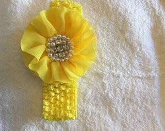 Infant/Toddler Yellow Crochet Floral Headband
