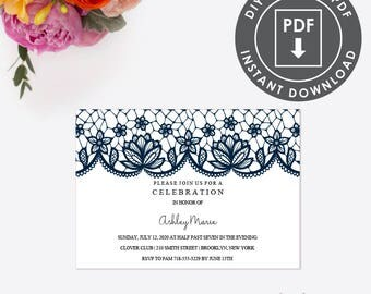 EDITABLE Lace Housewarming Party Invitation, Instant Download Party Invitation, Printable Template, Rustic Invite | Editable DIY PDF | 006N